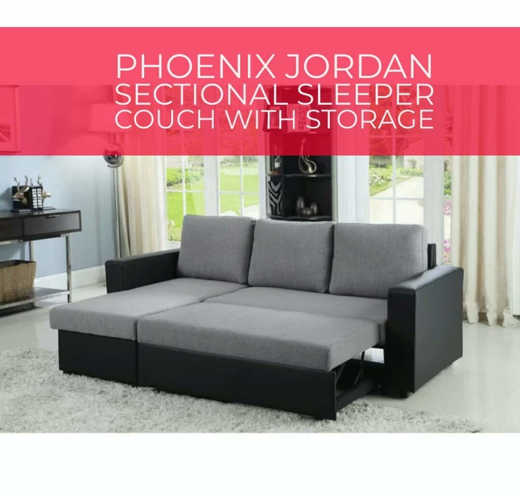 Jordan sectional Sleeper Sofa Couch with Storage