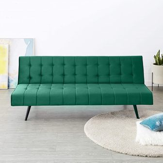 Solimo Roland 3 Seater Sofa cum Bed (Fabric, Green)